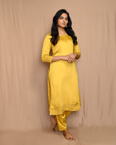 Yellow Silk Suit with Kota Silk Scalloped Dupatta