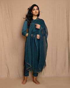 Teal Green Embroidered Modal Silk Kurta with Straight Pants and Scalloped Dupatta