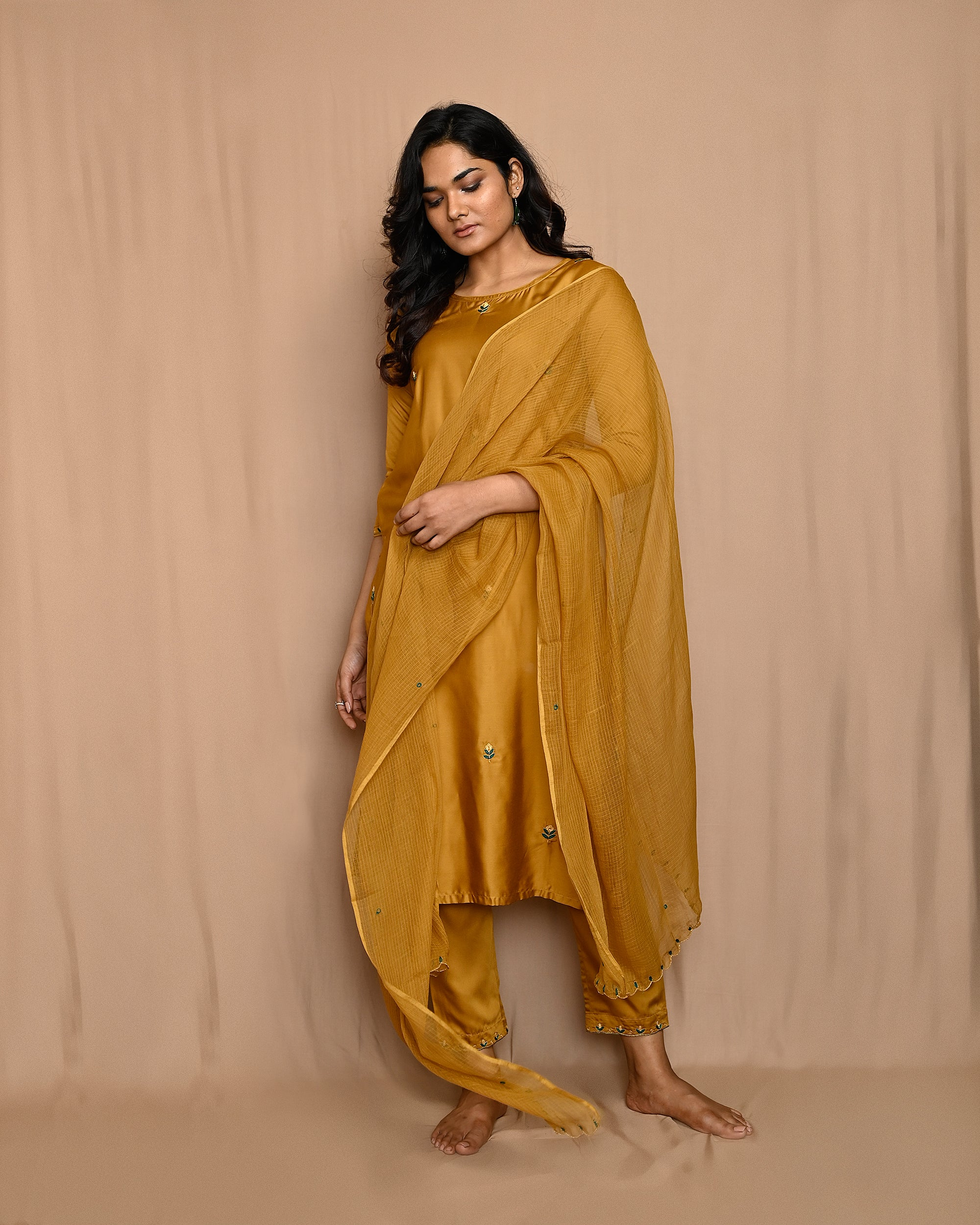 Mustard Yellow Embroidered Modal Silk Kurta with Straight Pants and Scalloped Dupatta