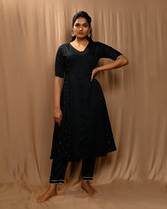 Black Anarkali Set with Kota Silk Scalloped Dupatta