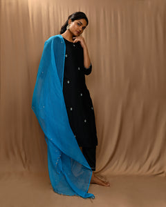 Black Embroidered Modal Silk Kurta with Straight Pants and Scalloped Dupatta