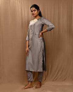 Grey Embroidered Modal Silk Kurta with Straight Pants and Scalloped Dupatta