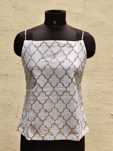 White Mosaic Print Top