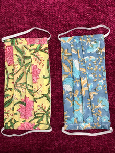Yellow and Blue Floral-Set of 2