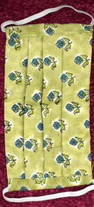 Green, Grey and Lime yellow  Floral - Set of 3