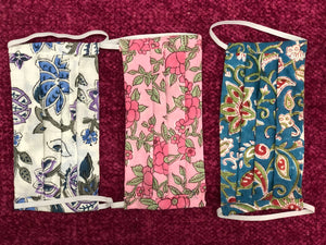 White, Blue and Pink Floral - Set of 3