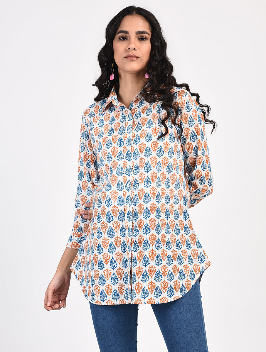 Block Printed Fitted Shirt