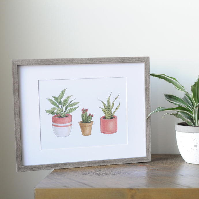 Potted Plant Wall Art in Frame