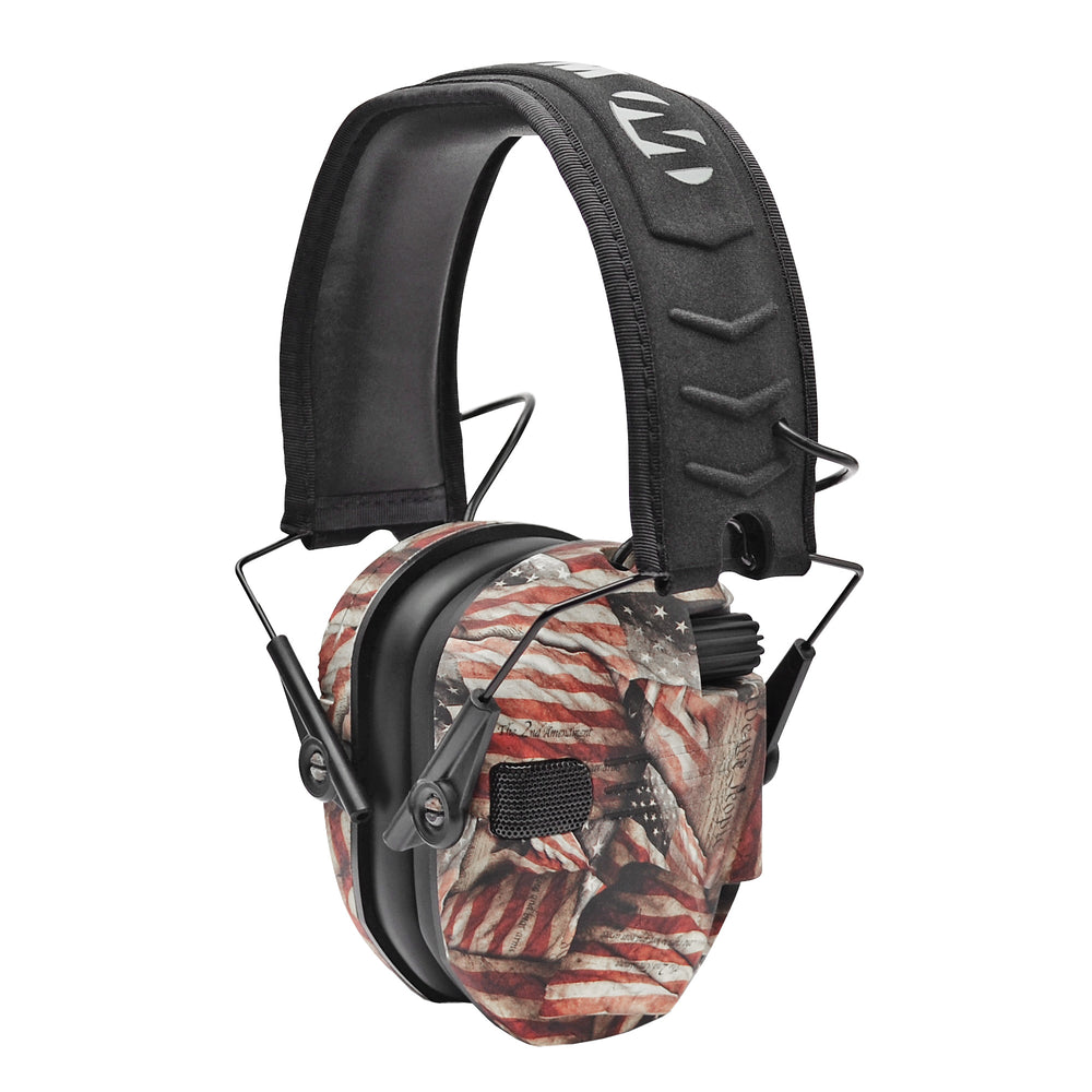 Walkers Game Ear Razor Slim Shooting 23 Db Over The Head Electronic Folding Earmuff, USA Flag - Gwprsembarm