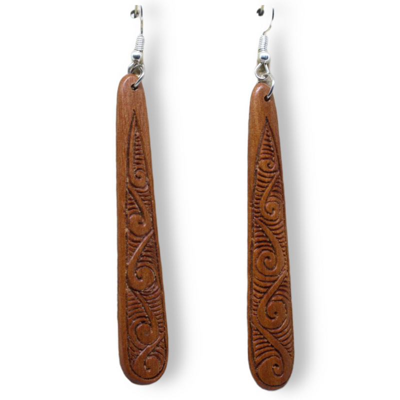 Engraved Wood Drop Earrings