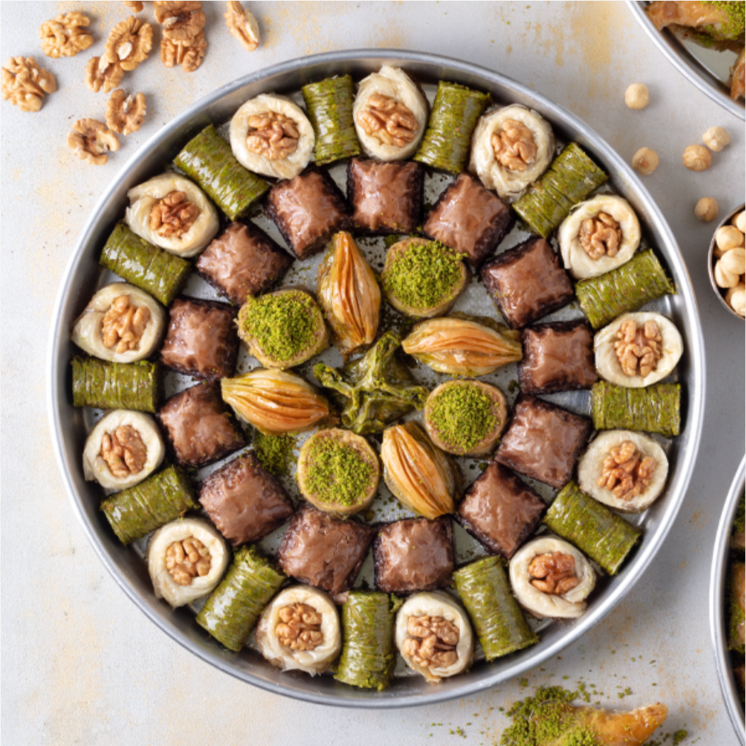 Special Chocolate Baklava with Pistachio in Tray
