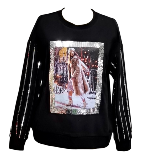 Carrie NYE Sequin Frame Sweatshirt