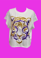 Purple/Gold Tiger Face Tee