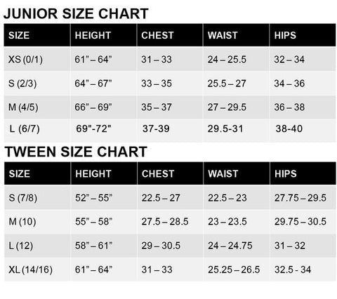 Sally Miller tween dress size chart