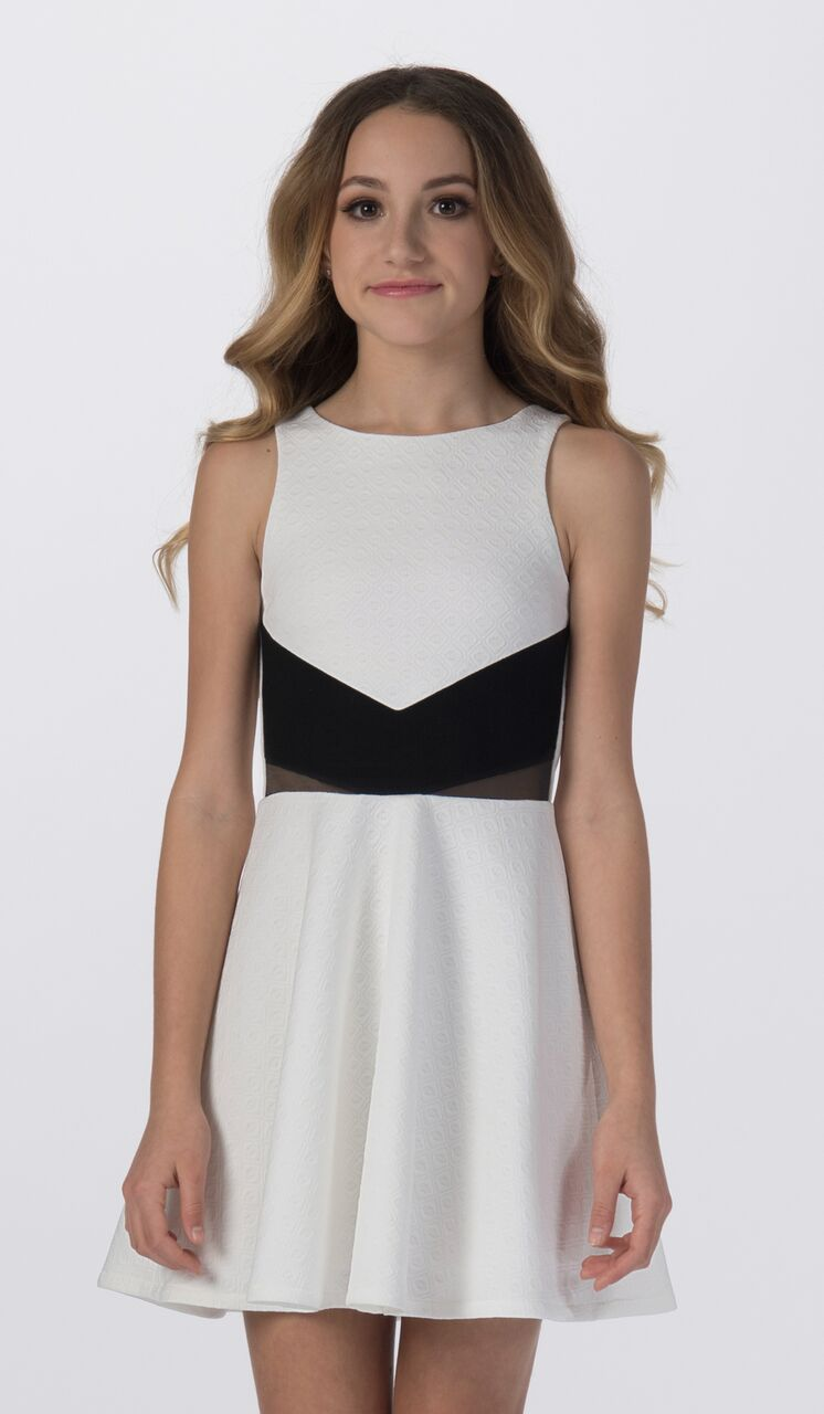 Sally Miller tween ivory fit and flare textured stretch knit special occasion dress with back gold zipper.