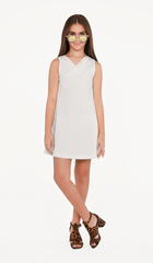 Sally Miller Lilia Dress - Ivory stretch crepe knit shift dress fully lined with twist detail at front neck