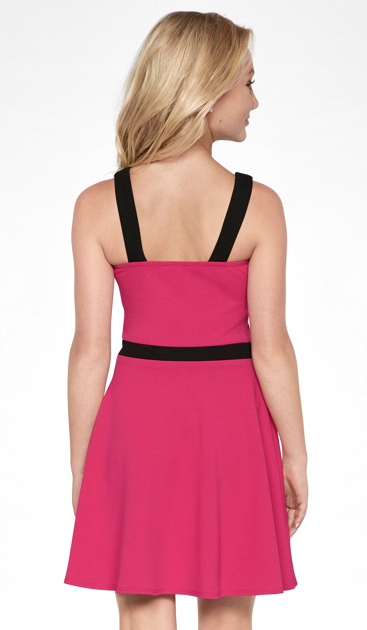 Sally Miller tween magenta fit and flare knit special occasion dress with black trim and mesh insert back view