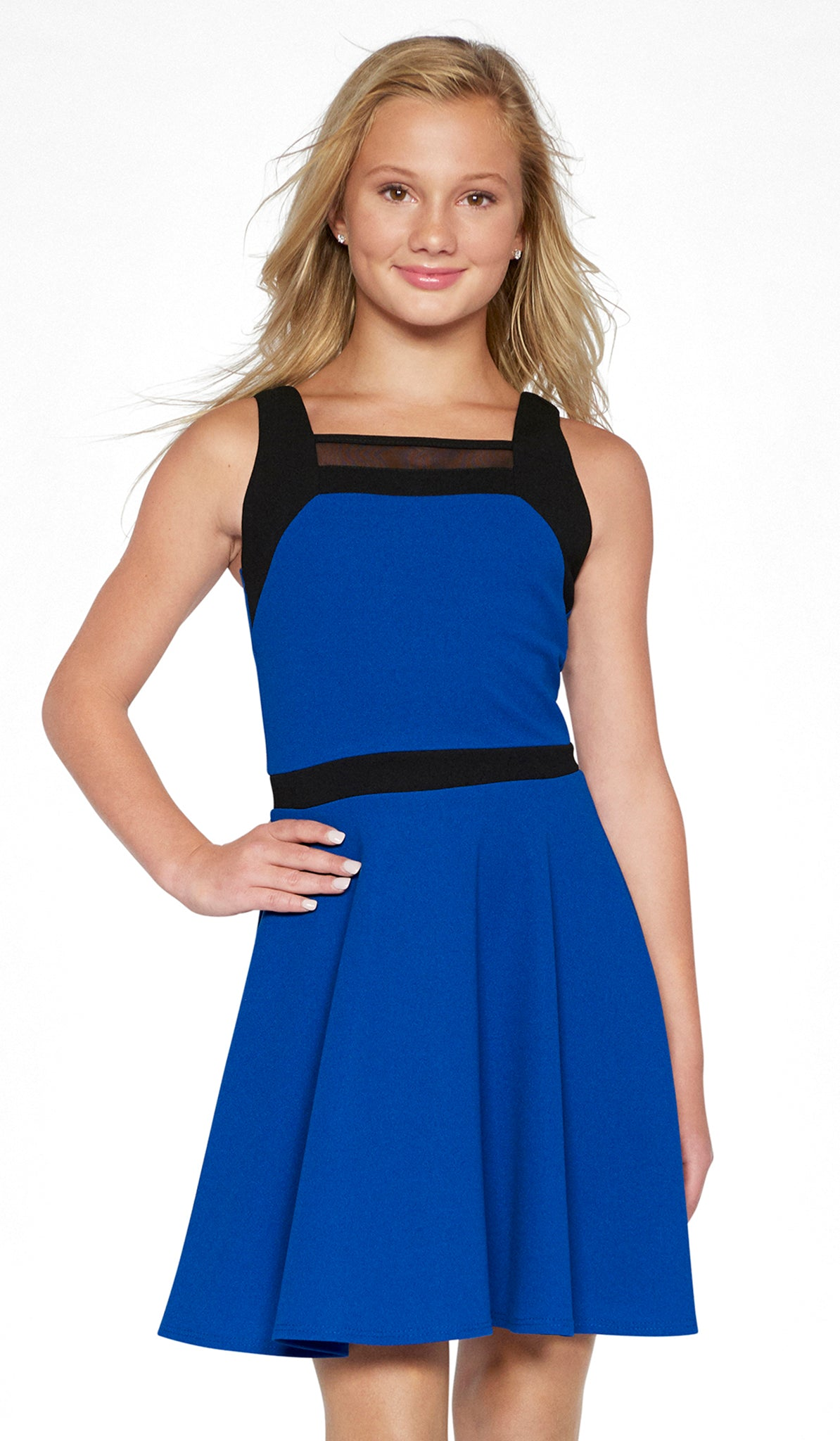 Sally Miller tween royal fit and flare knit special occasion dress with black trim and mesh insert mid view