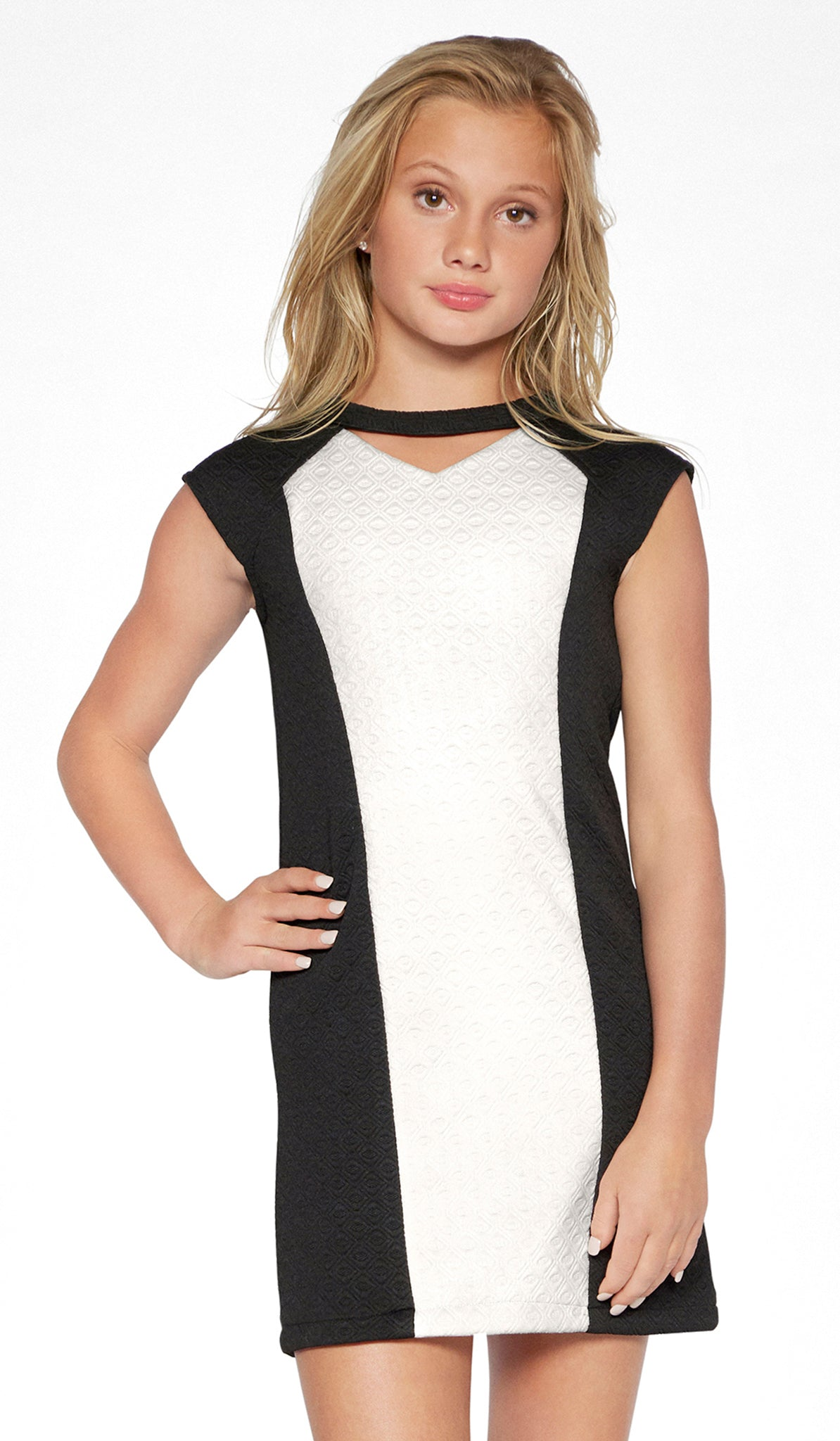 Sally Miller tween black and ivory shift knit special occasion dress mid view..