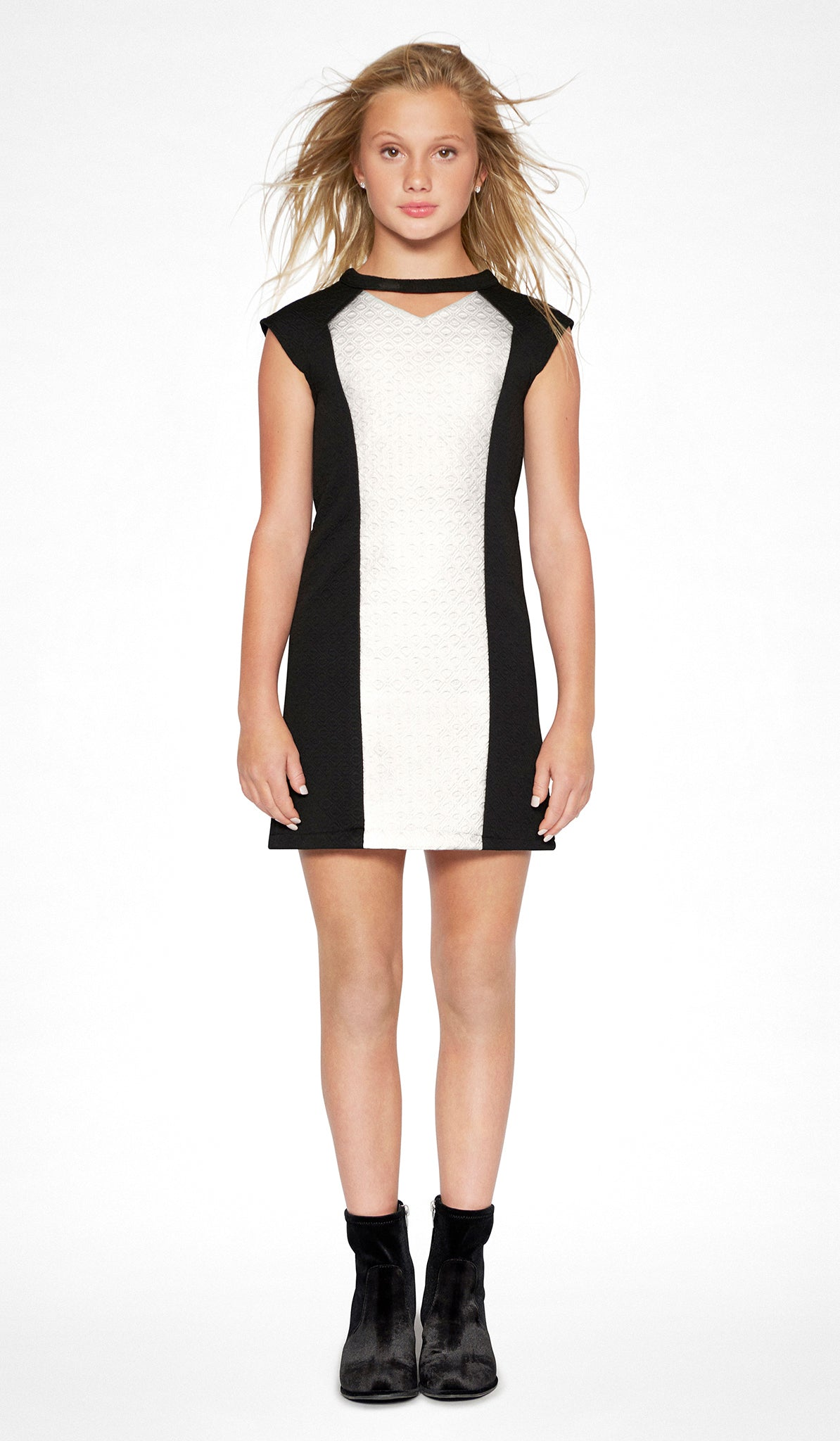 Sally Miller tween black and ivory shift knit special occasion dress front view..