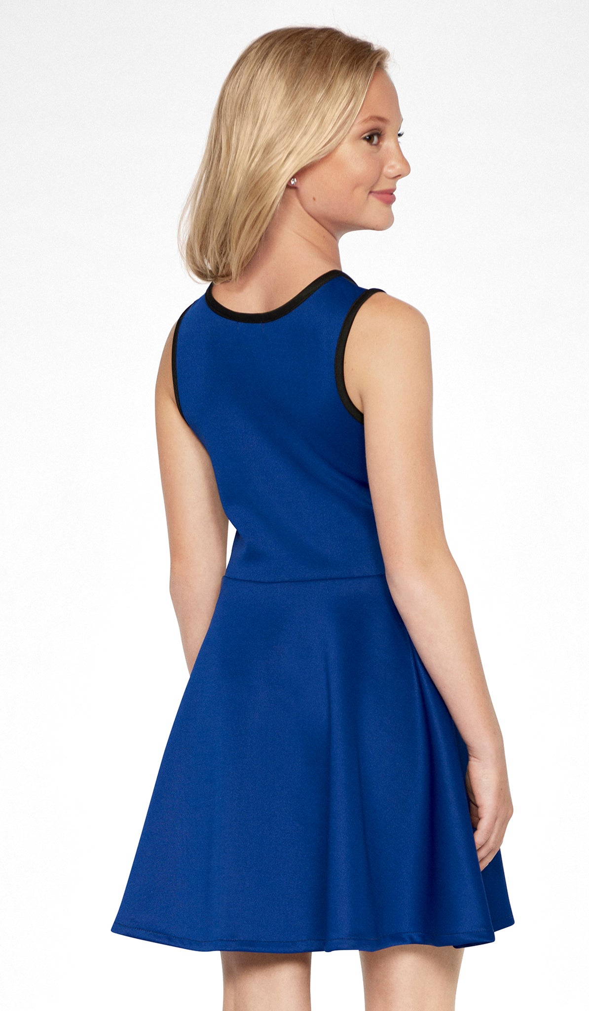 Sally Miller tween sapphire color block stretch knit fit and flare dress back view