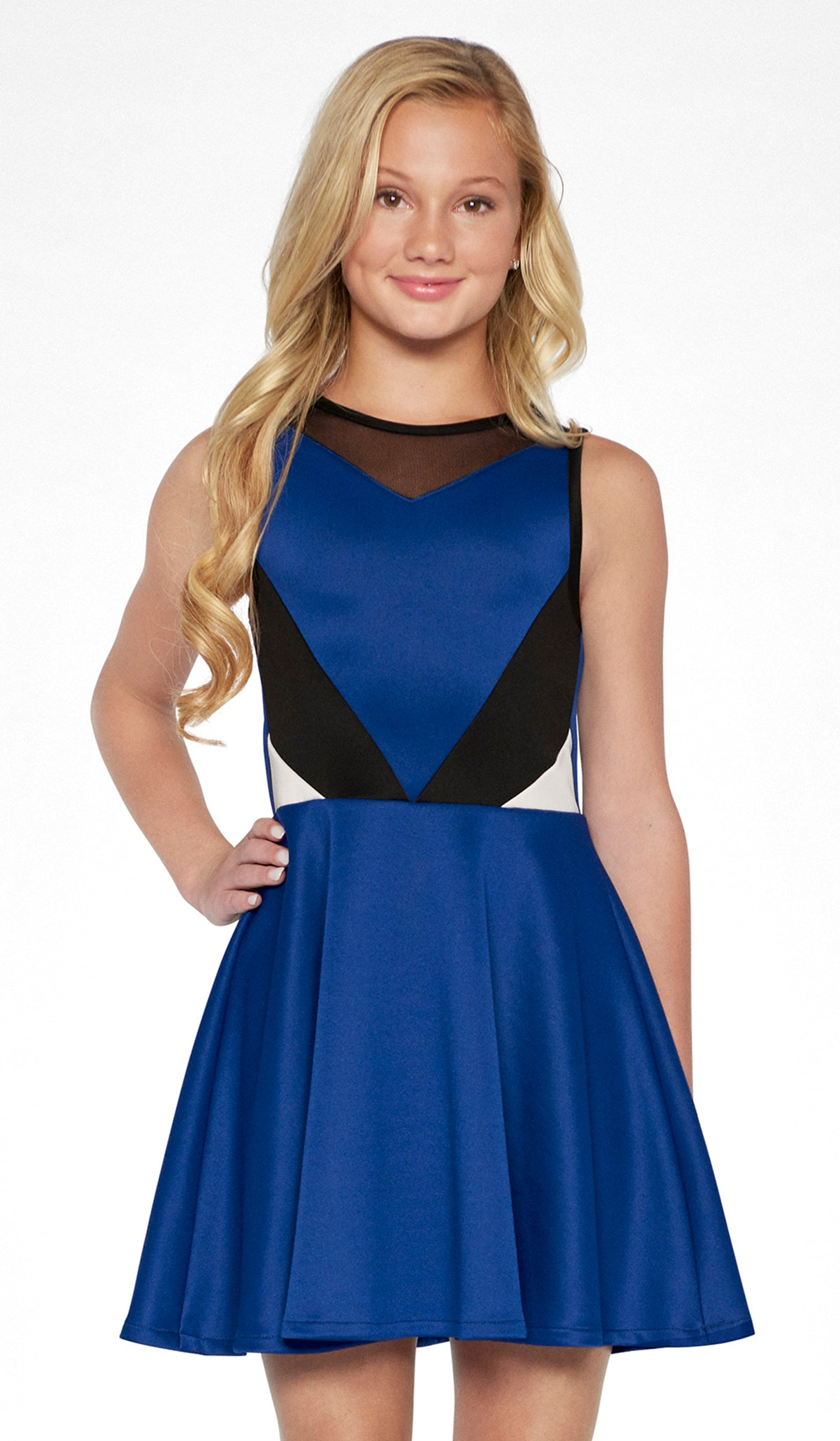 Sally Miller tween sapphire color block stretch knit fit and flare dress mid view