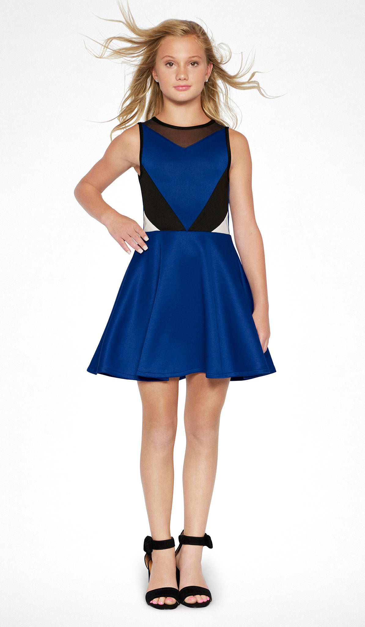 Sally Miller tween sapphire color block stretch knit fit and flare dress front view