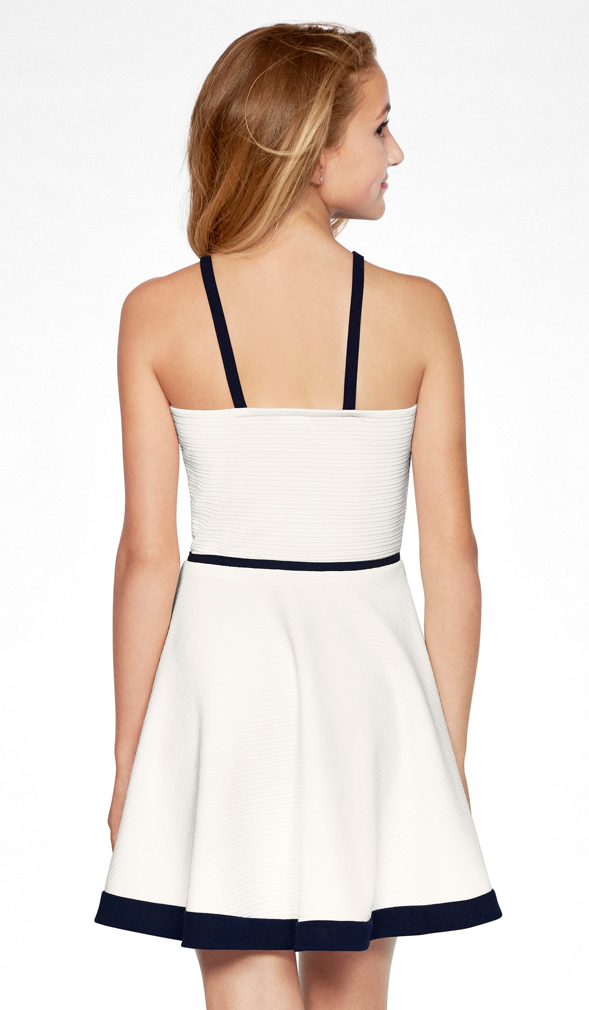 Ivory textured stretch knit fit and flare dress with navy detail the newport dress sally miller tween
