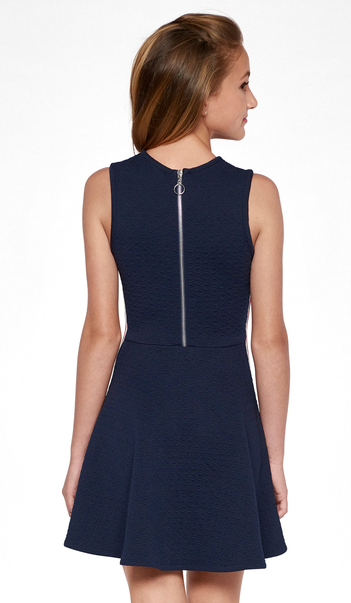 Navy Diamond texture stretch knit dress with mesh detail at neck, ivory and poppy side stripes and back silver zipper with ring The Sidney Dress Sally Miller