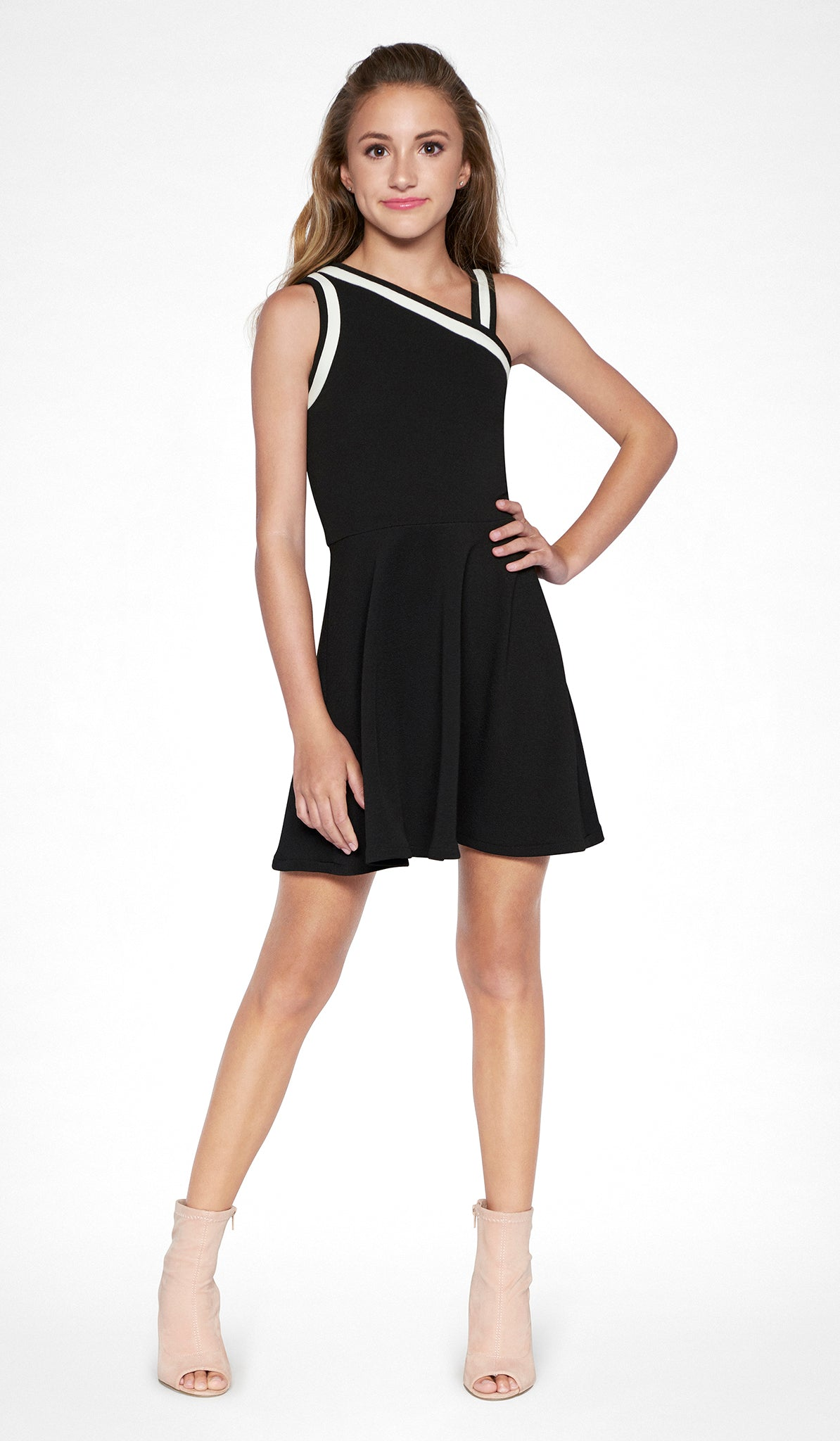 Sally Miller black one shoulder fit and flare dress tween Stella dress