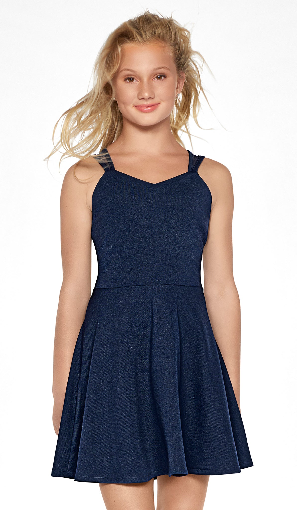 Navy sweetheart neck fit and flare textured stretch dress with mesh strap detail Sally Miller Jackie Dress Tween