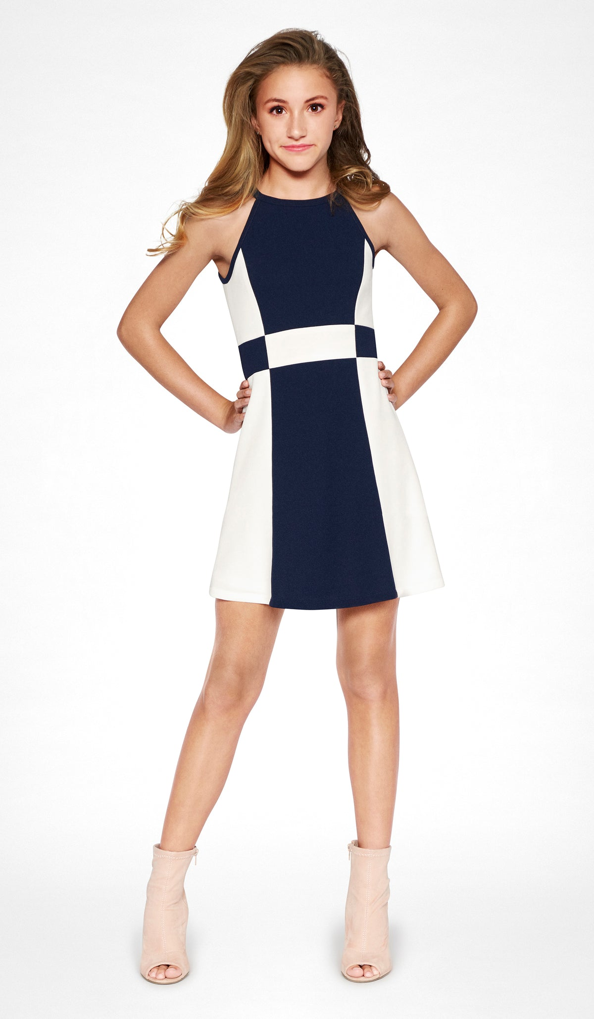 Junior modern Navy and Ivory color block stretch crepe georgette dress with button back closure Peggy Dress Juniors Sally Miller