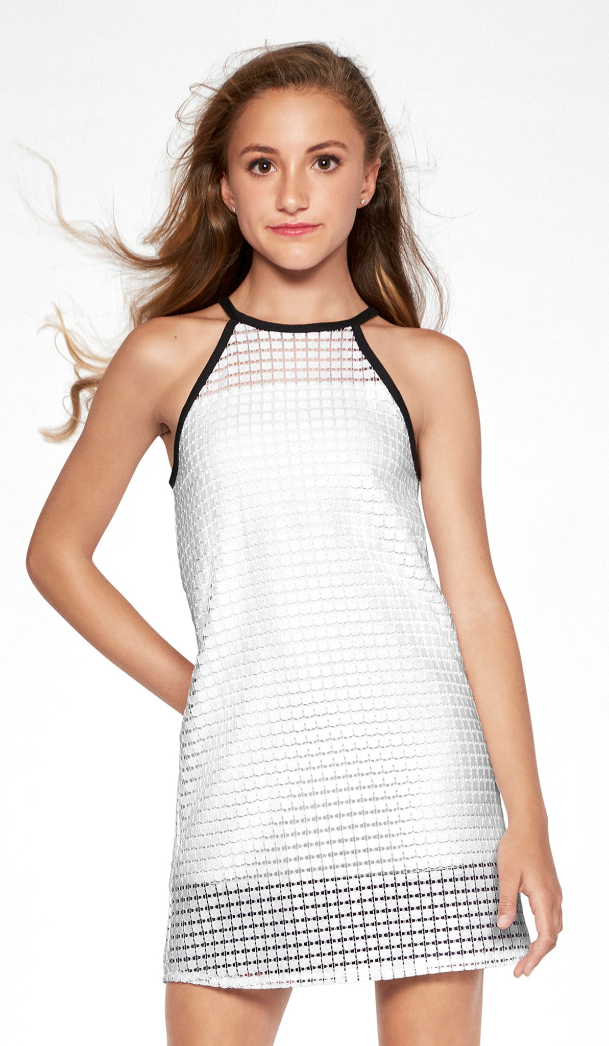 Off white geo lace shift dress with color block lining and button closure at back tween dress Sally Miller Marie Dress