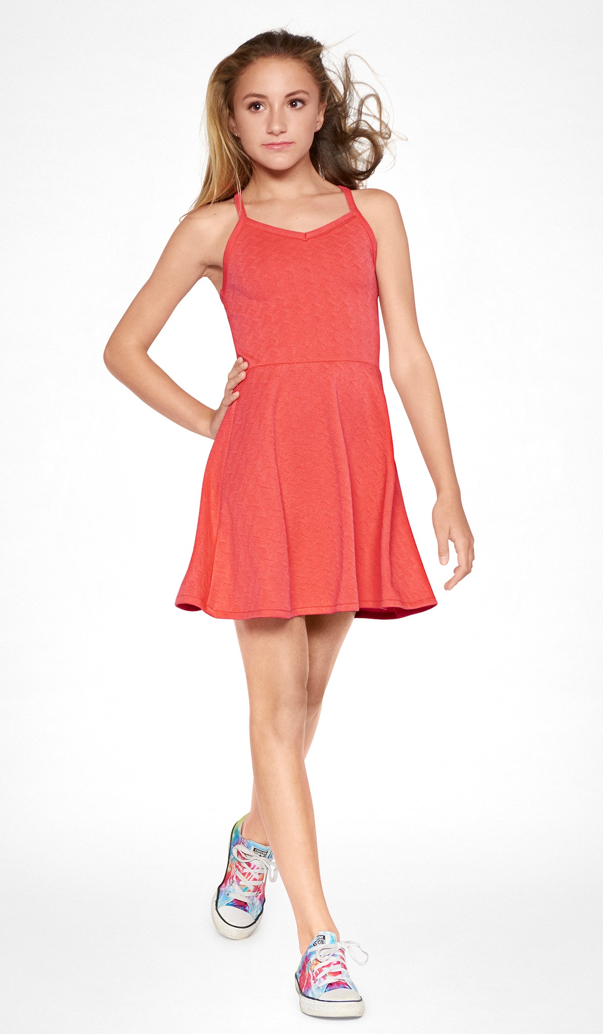 Poppy textured stretch knit ballet skater dress with cross straps at back Sally Miller Nolita Dress Poppy