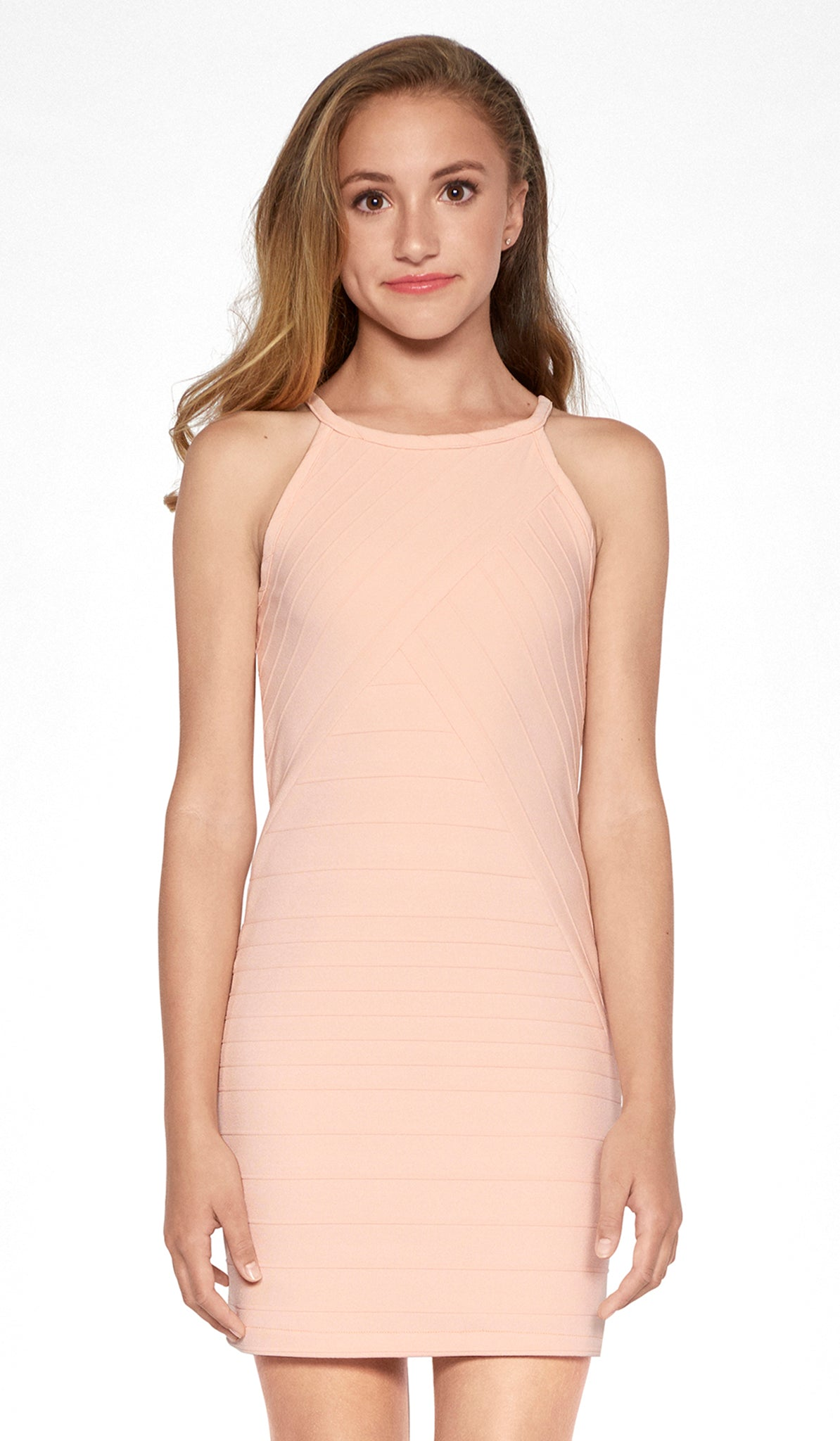 Blush varigated stripe textured stretch knit body con dress fully lined tween Sally Miller Mandy Dress