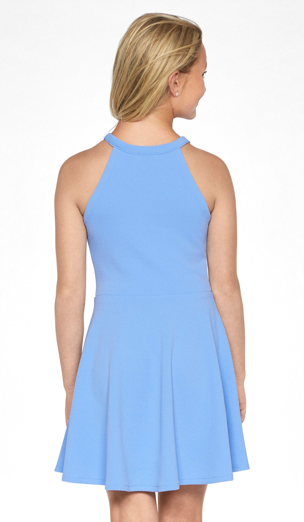 Junior Periwinkle textured knit fit and flare dress with self-colored blocking and mesh detail at neck Sally Miller Elise Dress Juniors Dresses
