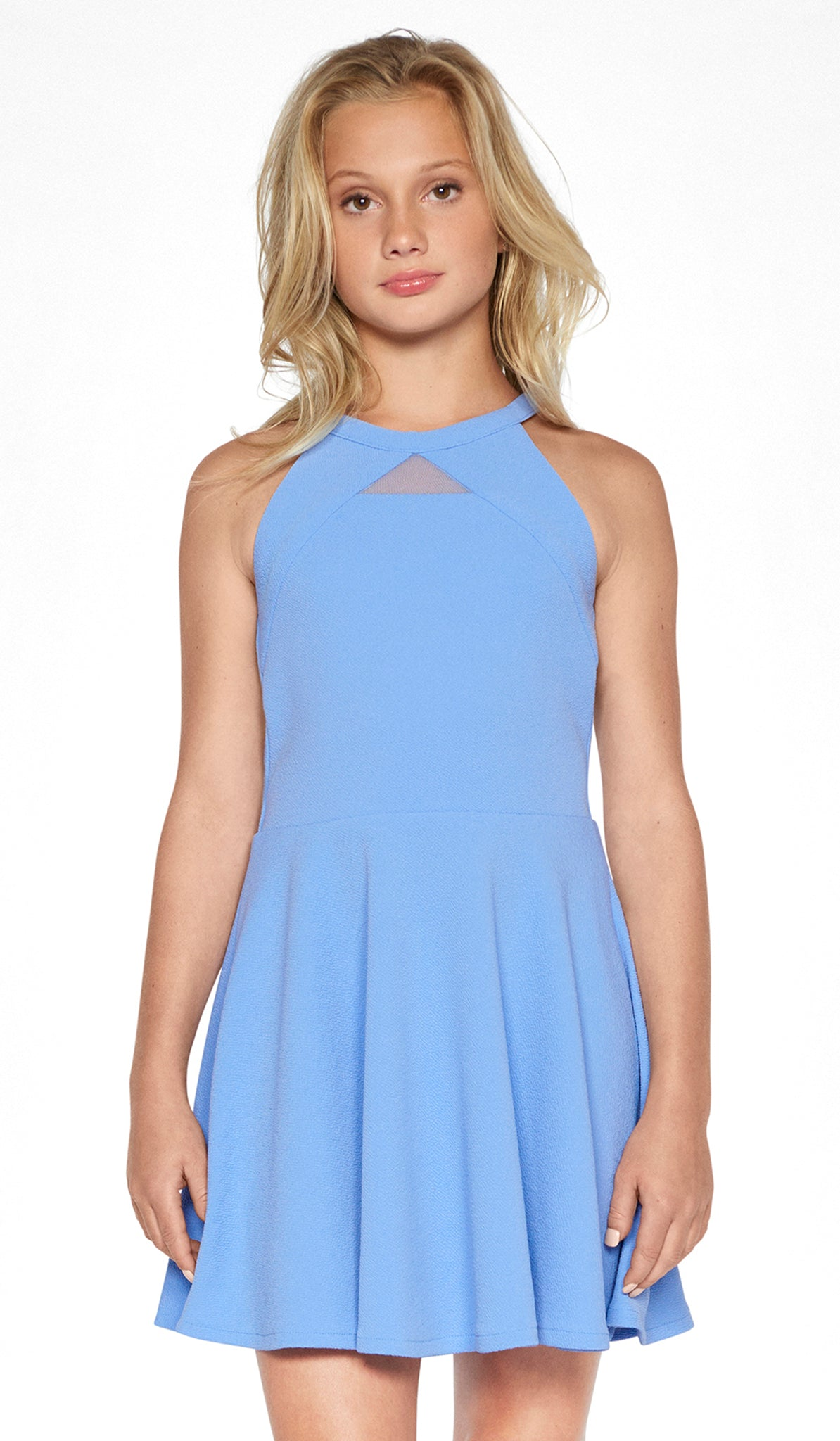 01e7d850d13 THE ELISE DRESS (JUNIORS). Junior Periwinkle textured knit fit and flare  dress with self-colored blocking and mesh detail