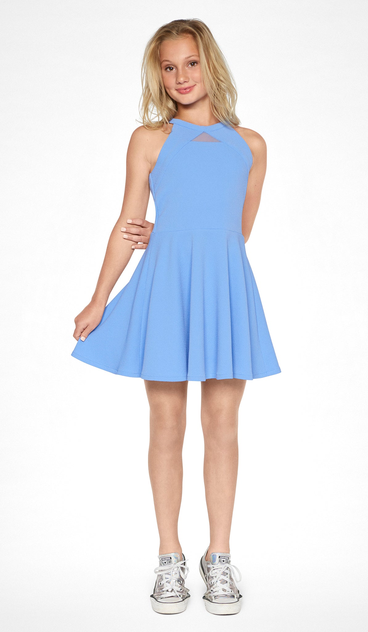 Periwinkle textured knit fit and flare dress with self-colored blocking and mesh detail at neck Sally Miller The Elise Dress