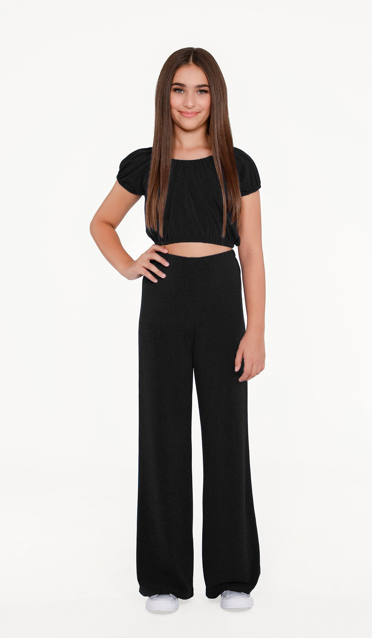 The Sally Miller Carrie Pant Set - Black stretch knit peasant top and wide leg cropped pant set | Event & Party Dresses for Tween Girls & Juniors | Weddings Dresses, Bat Mitzvah Dresses, Sweet Sixteen Dresses, Graduation Dresses, Birthday Party Dresses, Bar Mitzvah Dresses, Cotillion Dresses