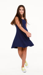 The Sally Miller Nikki Dress - Navy textured stretch knit eight panel fit and flare tank dress with V-neck | Event & Party Dresses for Tween Girls & Juniors | Weddings Dresses, Bat Mitzvah Dresses, Sweet Sixteen Dresses, Graduation Dresses, Birthday Party Dresses, Bar Mitzvah Dresses, Cotillion Dresses