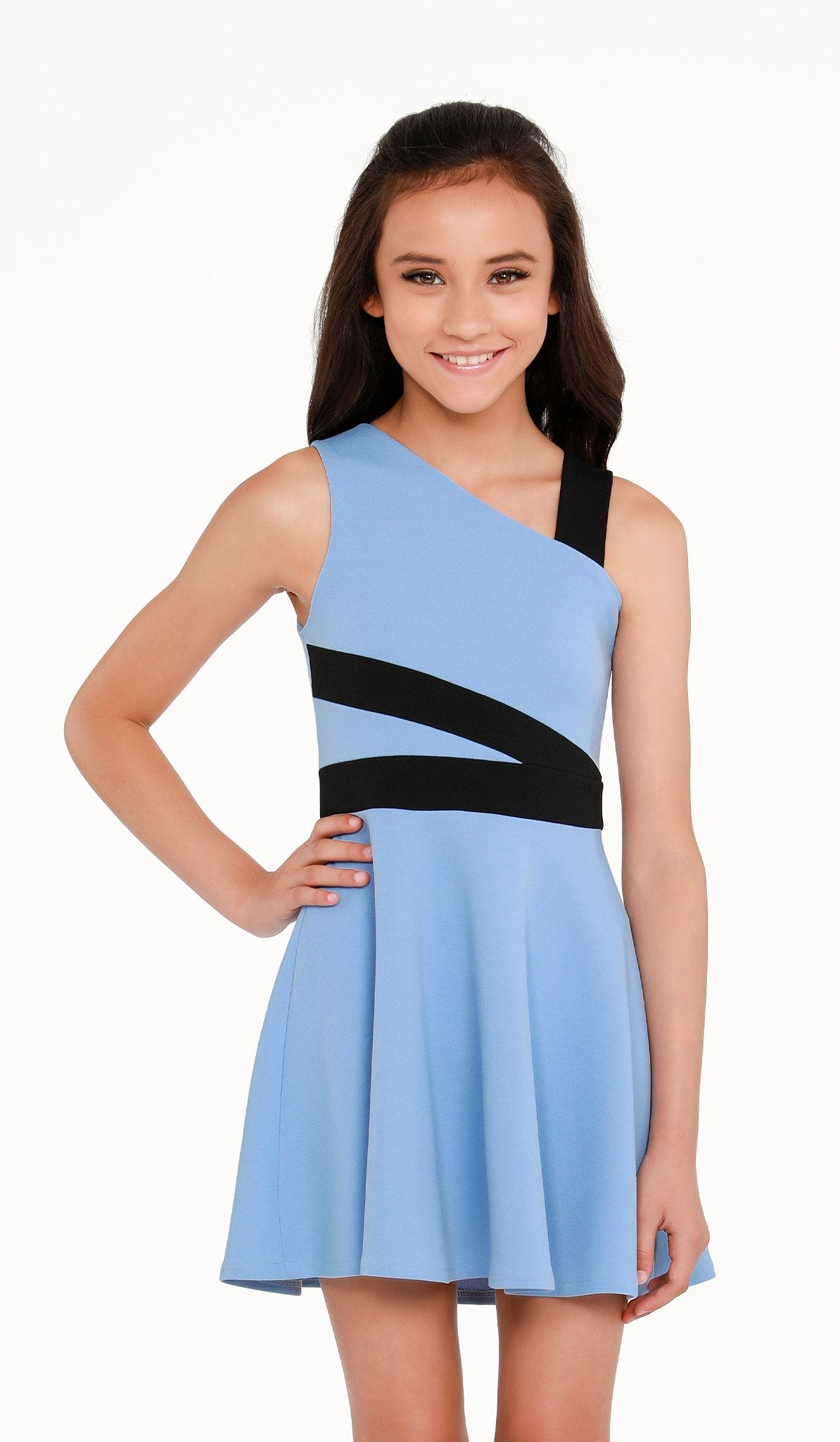 Sally Miller Blaire Dress Blue stretch textured knit fit and flare dress with black trim detail | Event & Party Dresses for Tween Girls & Juniors | Weddings Dresses, Bat Mitzvah Dresses, Sweet Sixteen Dresses, Graduation Dresses, Birthday Party Dresses, Bar Mitzvah Dresses, Cotillion Dresses