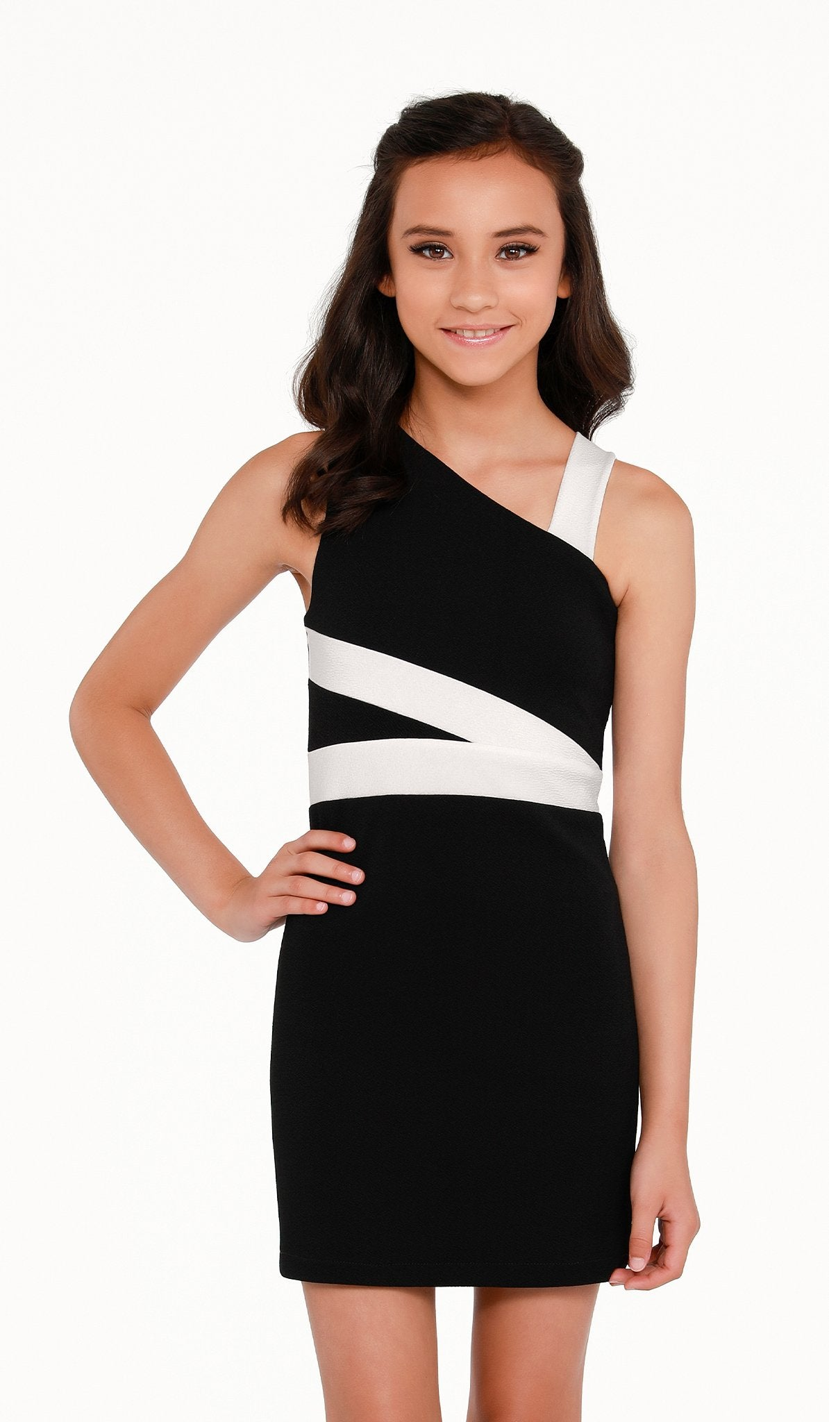 The Sally Miller Melissa Dress | Black stretch textured knit bodycon dress with ivory trim detail | | Event & Party Dresses for Tween Girls & Juniors | Weddings Dresses, Bat Mitzvah Dresses, Sweet Sixteen Dresses, Graduation Dresses, Birthday Party Dresses, Bar Mitzvah Dresses, Cotillion Dresses