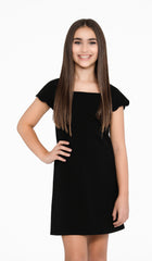 Sally Miller Serena Dress Black stretch textured knit Aline dress with scallop cap sleeve | Event & Party Dresses for Tween Girls & Juniors | Weddings Dresses, Bat Mitzvah Dresses, Sweet Sixteen Dresses, Graduation Dresses, Birthday Party Dresses, Bar Mitzvah Dresses, Cotillion Dresses