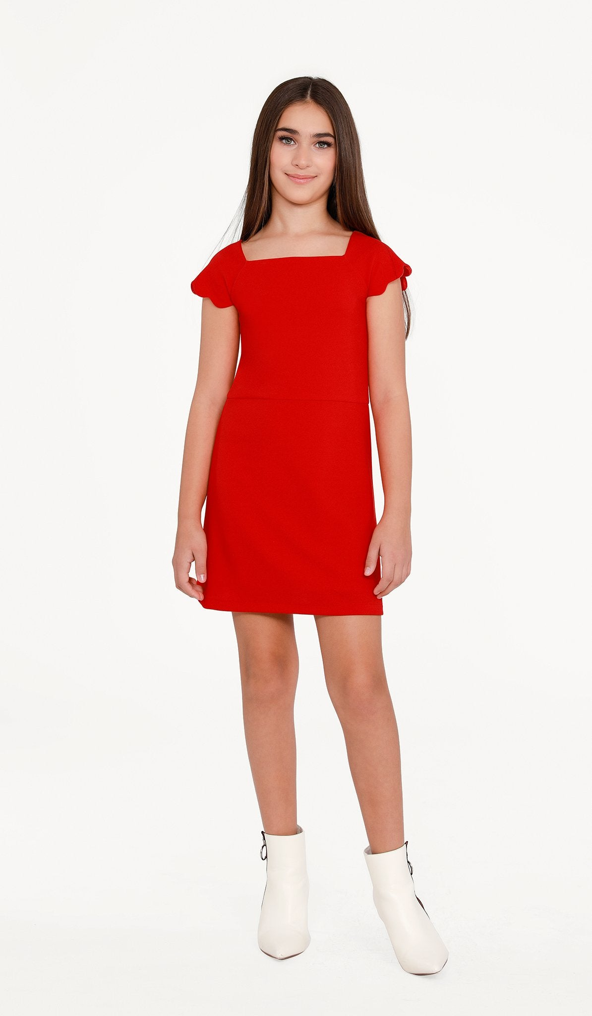 Sally Miller Poppy Serena Dress Hot poppy textured knit Aline dress with scallop cap | Event & Party Dresses for Tween Girls & Juniors | Weddings Dresses, Bat Mitzvah Dresses, Sweet Sixteen Dresses, Graduation Dresses, Birthday Party Dresses, Bar Mitzvah Dresses, Cotillion Dresses