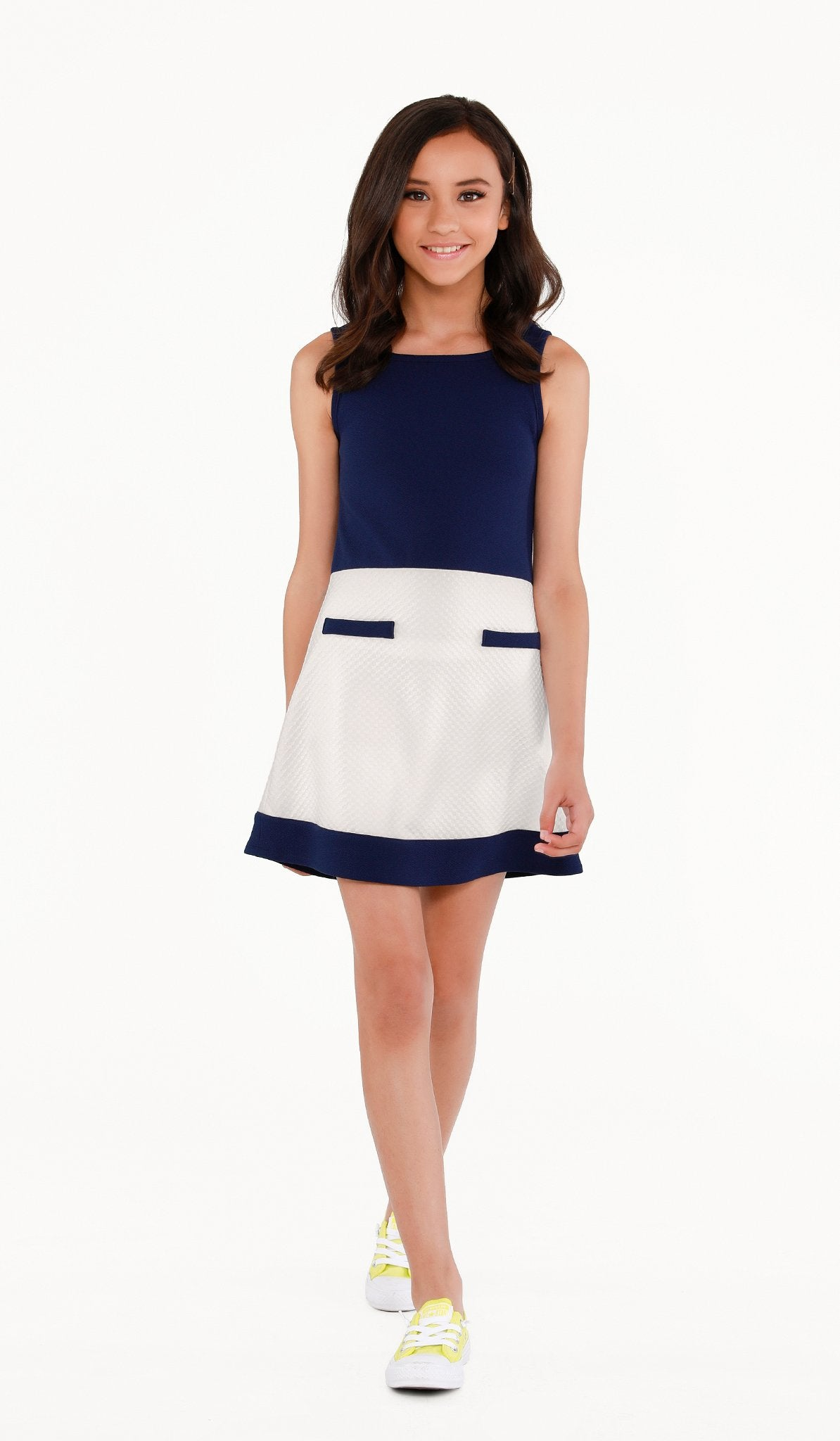 The Sally Miller Coco Dress - Navy and ivory color block mix texture stretch knit A-line dress with mock pockets  | Event & Party Dresses for Tween Girls & Juniors | Weddings Dresses, Bat Mitzvah Dresses, Sweet Sixteen Dresses, Graduation Dresses, Birthday Party Dresses, Bar Mitzvah Dresses, Cotillion Dresses