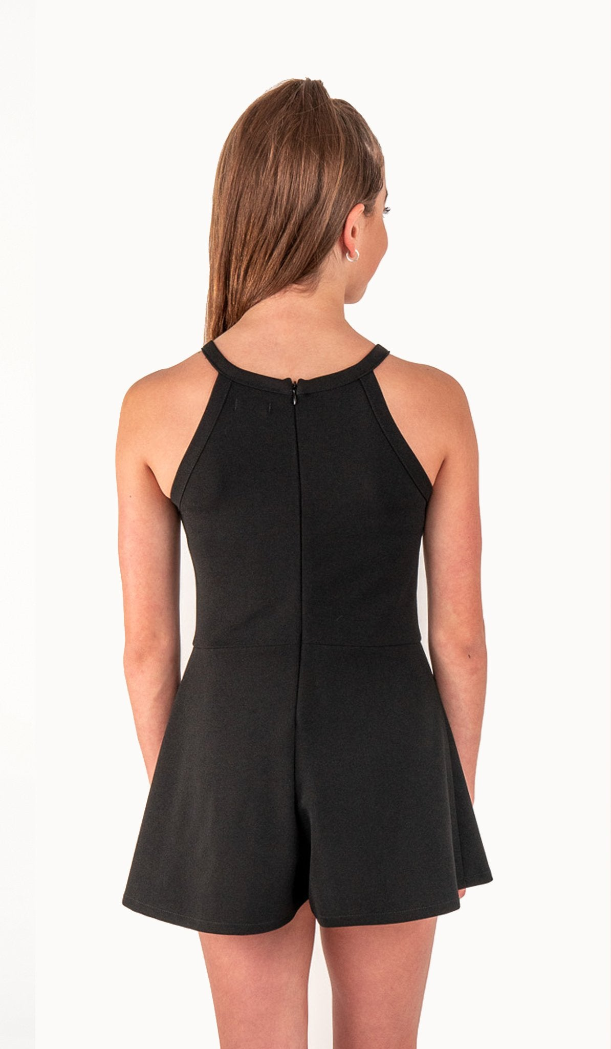 The Kelly Romper | Black stretch textured knit romper with lace yoke and zipper at back