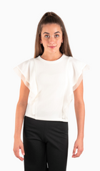 Sally Miller Taylor Top - Ivory stretch textured lined knit flutter sleeve top with mesh trim