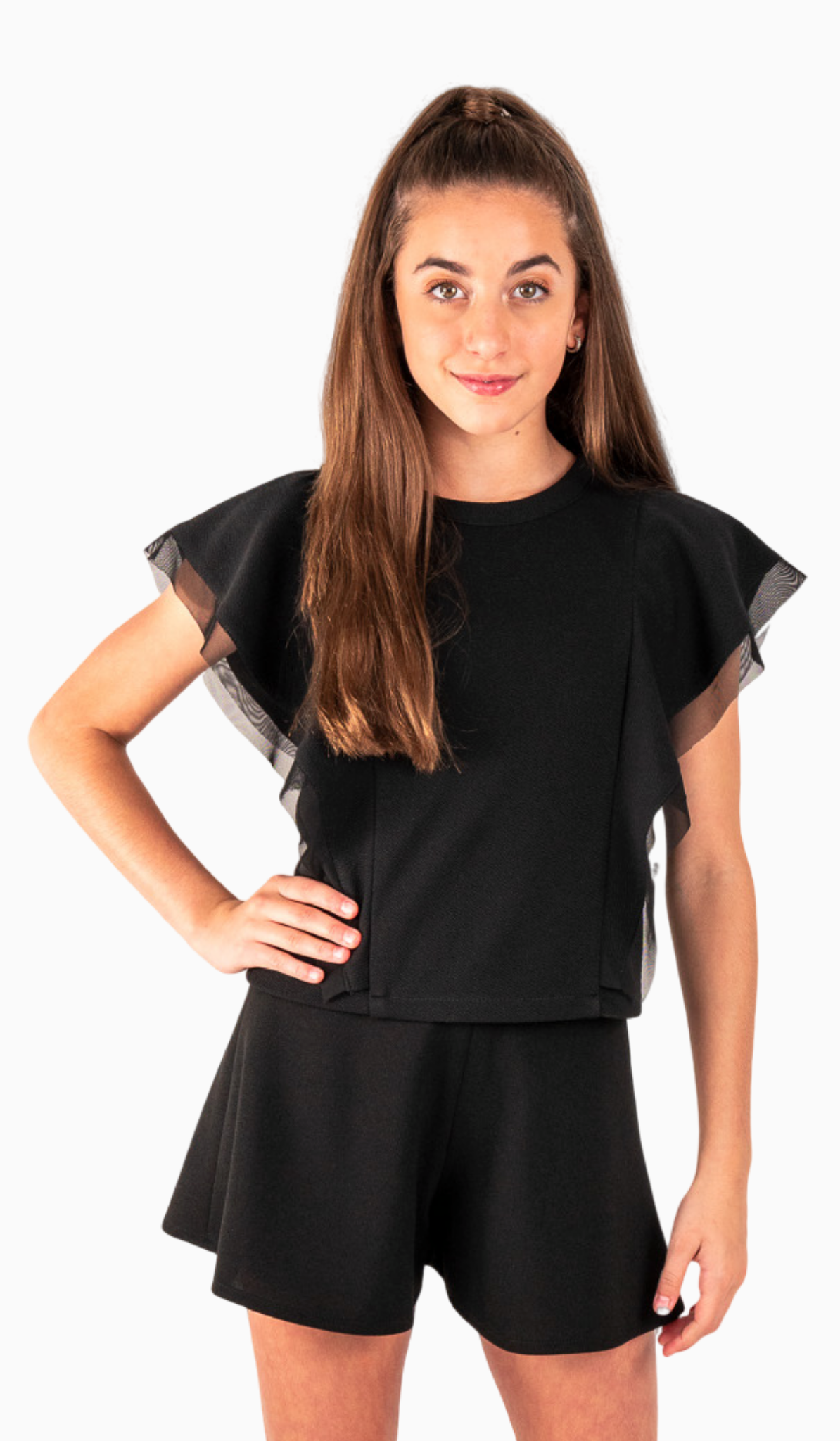 The Sally Miller Taylor Top - Black stretch textured lined knit flutter sleeve top with mesh trim