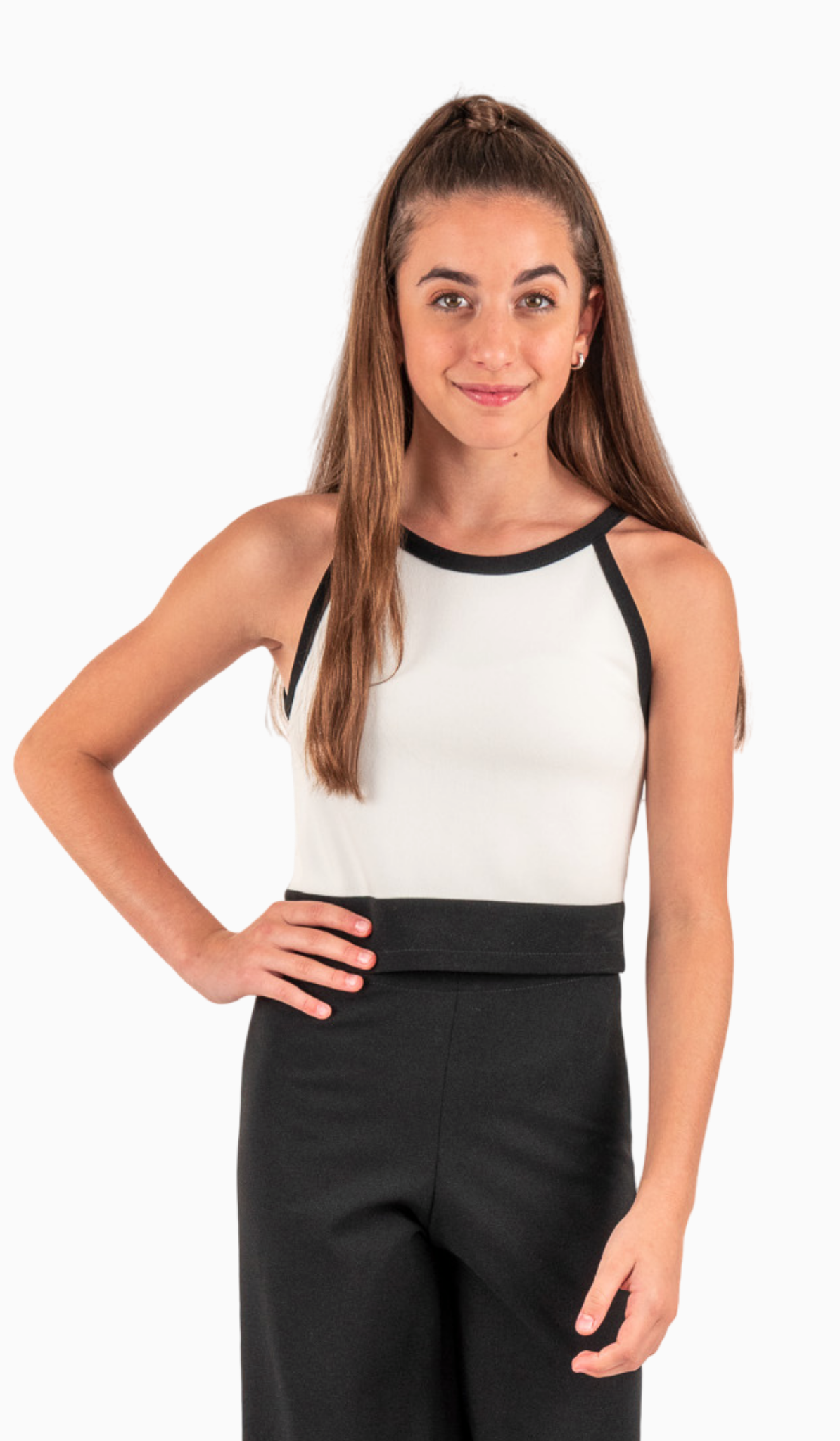 Sally Miller Moda Top - Ivory stretch lined crepe knit tank with black trim