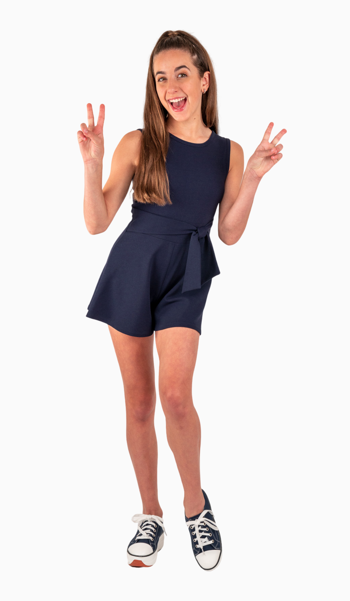 Side Tie Romper - Navy stretch crepe knit romper with waist tie and zipper at back